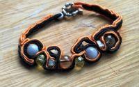 Bratara neagra portocaliu cu pietre semipretioase