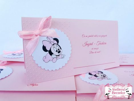 Plicuri de dar botez Minnie roz