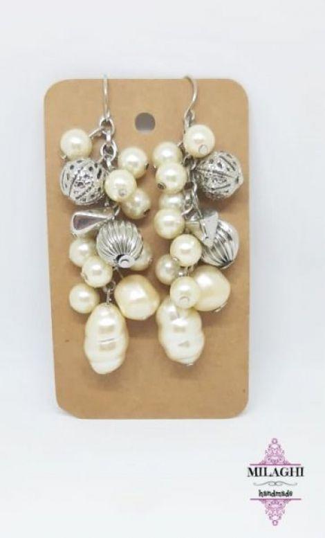 Cercei cu perle de sticla