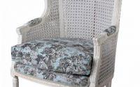 Fotoliu baroc din lemn masiv alb cu tapiterie bleu