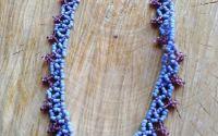 Colier cu margele albastru si mov