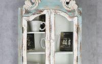 Bufetel din lemn masiv alb antichizat cu bleu