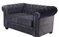 Sofa Chesterfield din lemn masiv cu tapiterie gri