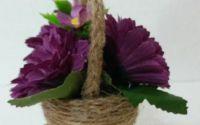 Decoratiune Handmade - Cosulet decorativ cu flori