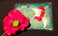 Red Poppy Fairy - Colier cu pandantiv pictur mini