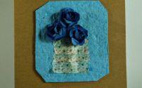 Felicitari flori mici A6 - albastru inchis