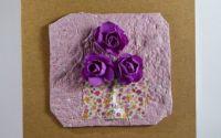 Felicitari flori mici A6  dark magenta dark pink
