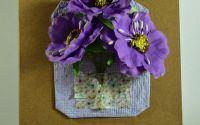 Felicitari flori mari A6 roz cu lila