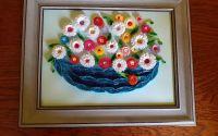 Tablou quilling cos cu flori