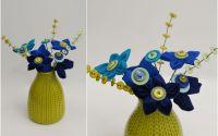 vaza flori handmade nasturi verde albastru