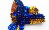 Brosa Colibri auriu cu albastru