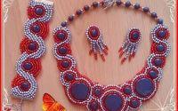 Colier bratara cercei Red and silver