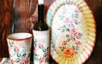 Set vaza sticla si tava cu motiv floral