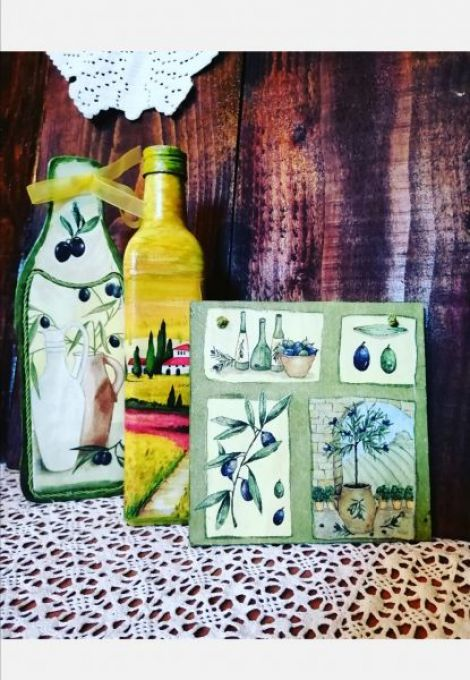 Set sticla pt ulei de masline si 2 decoratiuni