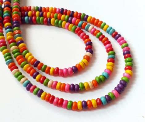 10 Rondele howlit multicolor 4.5 x 2.5 mm