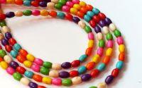10 Margele howlit multicolor bob de orez 6.5 x 4.5