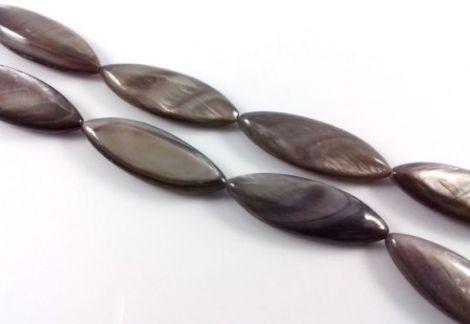 Margele sidef ovale gri 30 x 10 mm