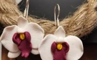 Cercei argint orhidee alba