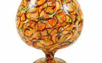 Vaza sticla pictata manual Orange Glass 19 cm