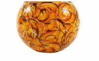 Bol sticla pictata manual Orange 12 cm