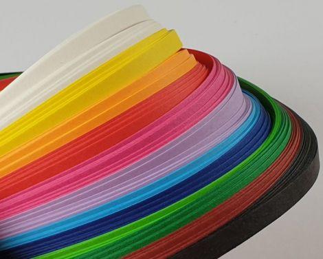 Hartie quilling 5 mm fasii lungi 425 cm 12 culori