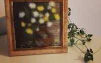"""Tablou din lana impaslita """" Glastra cu flori"""""""