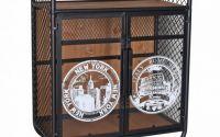 Minibar industrial din lemn masiv cu roti metalice