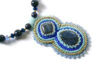 Colier dumortierit si lapis lazuli