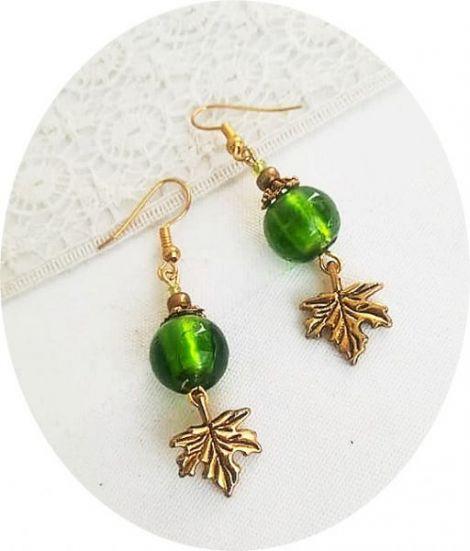 cercei aurii cu murano verde