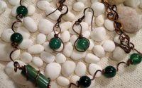 Colier si cercei din cupru piatra jadeit verde.