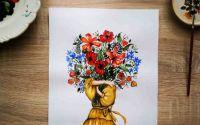 Print ilustratie buchet flori