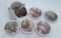 Set 6 suporturi pahare -model iarna vintage