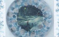 Platou sticla opal cu decoratiuni de iarna