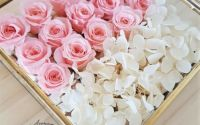 Aranjament trandafiri criogenati si hortensie