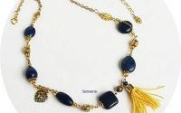 colier auriu si albastru regal cu lapis lazuli