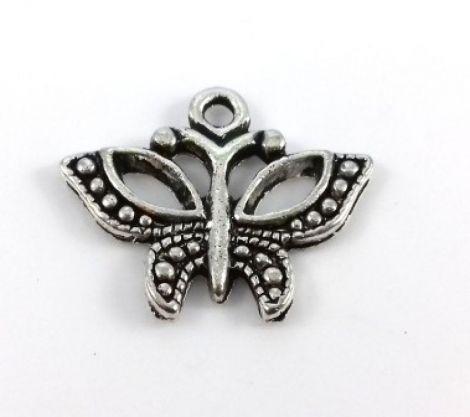 Charm argintiu antichizat fluture 20 x 16 mm