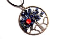 colier arborele vietii cu lapis lazuli si coral