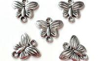 Link-uri conectori fluture argintiu 13 x 14 mm