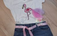 Tricou Flamingo pictat manual si coada detasabila