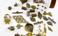Lot mixt 100 accesorii metalice bronz si cupru