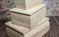 Set 3 cutii lemn natur bombate
