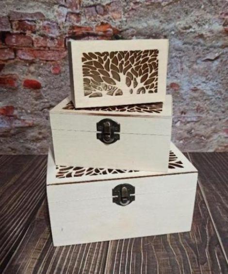 Set 3 cutii lemn natur dantelate copac