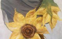 Esarfa din matase naturala cu floare impaslita