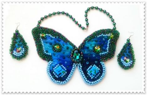 Colier si cercei Summer Blue Buterfly