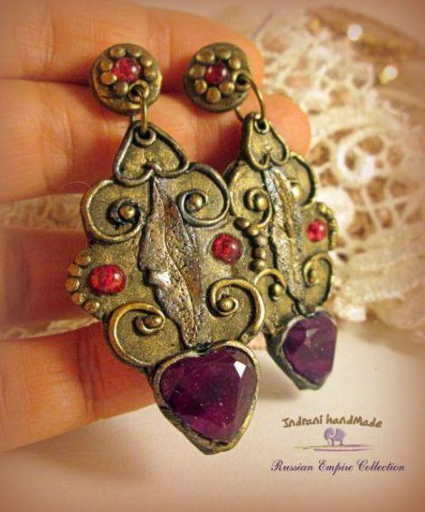 "Cercei handmade Russian Empire ""Burgundy Hearts """