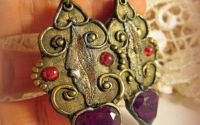 "Cercei handmade Russian Empire ""Burgundy Hearts """