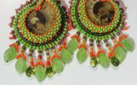 Cercei cu amonit - nuante de verde