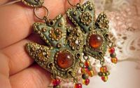 "Cercei handmade Russian Empire ""Amber Fire """