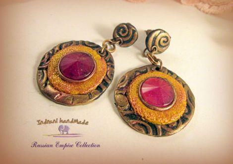 Cercei handmade Antique Fuchia