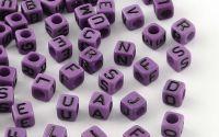 500buc margele litere alfabet cub mix Purple 6mm